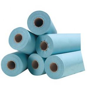 Draps d'examen plastifiés bleus - 6 rouleaux 40g/m²