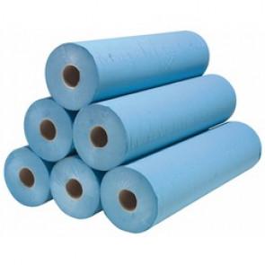 Drap d'examen ouaté extra résistant bleu - 50x38cm - 200 formats - 54g/m² - carton de 6 rouleaux