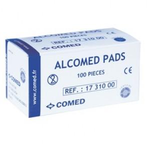 Tampons / Compresses d'alcool à 70° - 2 boites de 100 - 60x34mm - Alcomed