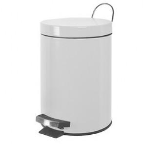Poubelle à pédale - 3L en métal Blanc